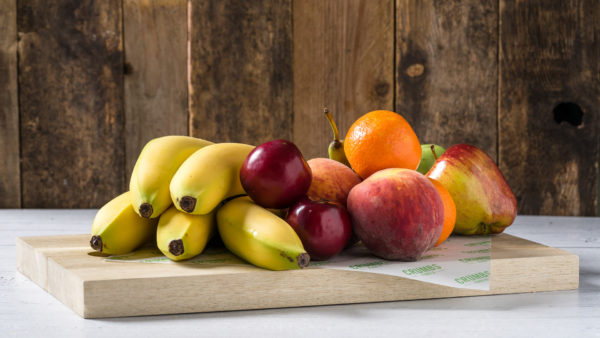 fruit platters with banana and apple oranges and pear