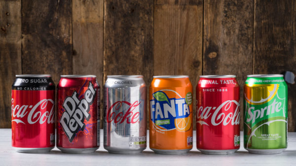 coca-cola products line-up for drinking